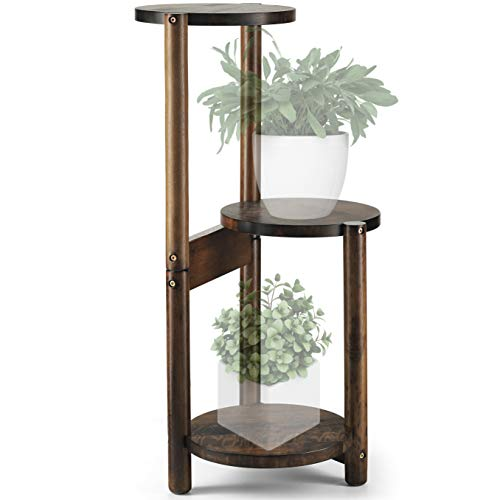 3 Tier Plant Stand, Mid Century Wood Plant Stand Tall 30inch with Three Shelfs...