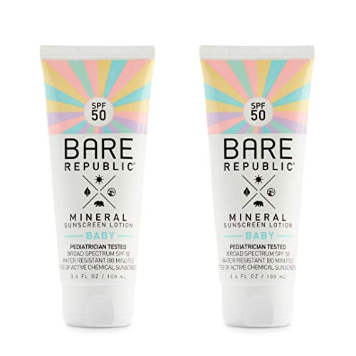 Bare Republic Mineral SPF 50 Baby Sunscreen Lotion. Unscented and Gentle Sunscreen Lotion with SPF 50 for Babies 6 Months and Older (3.4 Ounces) 2 Pack.