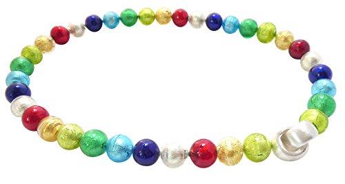 Murano-Kette Collier Perlen Handarbeit echtes Murano-Glas hochwertige Klapp-Schließe Sterling-Silber 925-er Goldschmiede-Arbeit Unikat Geschenk