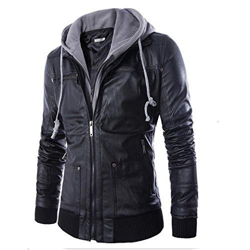 Binggong Herren Shirt,Herrenmode Förderung Herbst Winter schwarz Reißverschluss Jacke warm langärmeligen Hemd Leder
