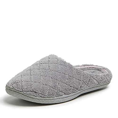Dearfoams Women's Leslie Quilted Microfiber Terry Clog, Medium Grey, Large/9-10 M US