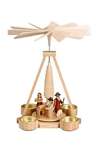 Pyramide Christi Geburt natur Teelicht BxHxT 19,5x25x19,5cm NEU Holzpyramide Weihnachtspyramide Designpyramide Tischpyramide Wärmespiel Tischdeko Dekoration Weihnachten Wärmespiel Lichter Figur
