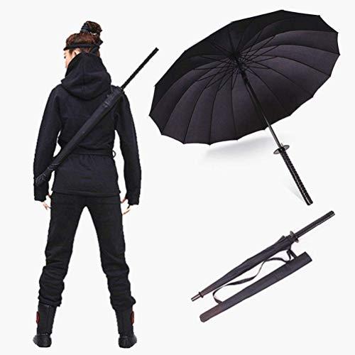 Japanese Swords Umbrella Samurai Umbrella Semi-Automatic Umbrella -Strong Windproof Creative Knife Umbrella Decoration Cosplaying,as Birthday Gift (16 Bone,black)