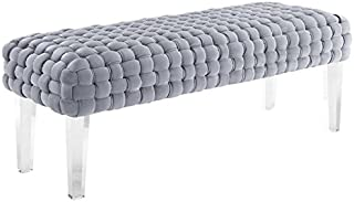 TOV Furniture The Sal Collection Modern Style Woven Velvet Upholstered Living Room Accent Bench, Grey