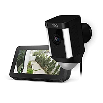 Ring Spotlight Cam Wired (Black) with Echo Show 5 (Charcoal) by
