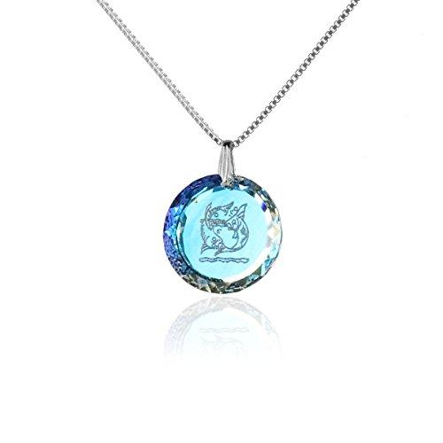 Silberkette Halskette 925 Silber Sternzeichen Tierkreiszeichen Fische hergestellt mit Swarovski®Kristall