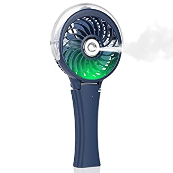 Handheld Misting Fan Portable Fan Facial Steamer-Rechargeable Battery Operated Fan Foldable Travel Fan with Cooling Humidifier and Colorful Nightlight for Camping Hiking Outdoor  Blue