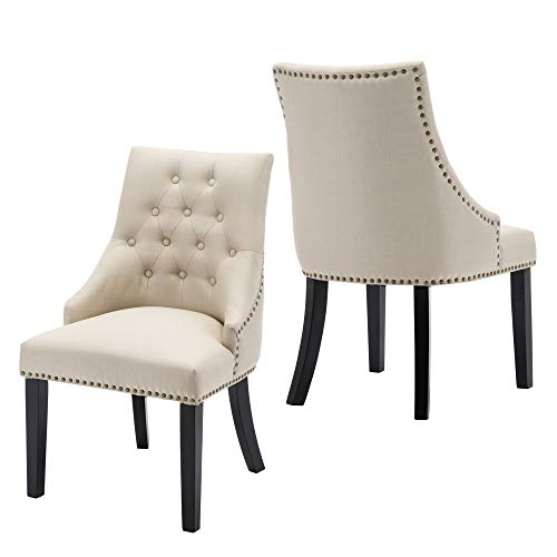 LSSBOUGHT Set of 2 Fabric Dining Chairs Leisure Padded Chairs with Black Solid Wooden Legs,Nailed Trim,Beige