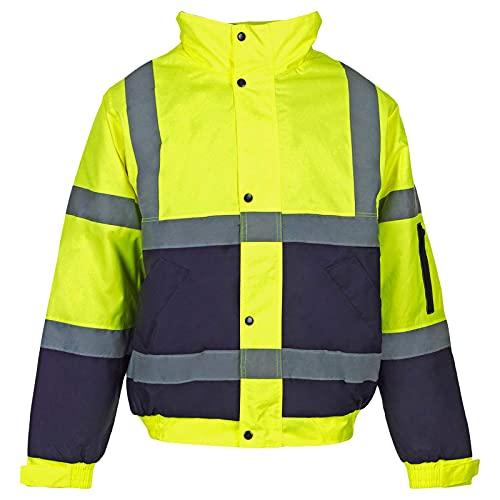Myshoestore ad alta visibilità Bomber ad alta visibilità da lavoro da uomo Wear imbottita impermeabile con cappuccio giacche taglia S-3X L Yellow Navy / 2 Tone XX-Small