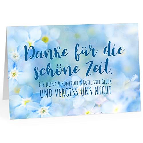 Große Abschiedskarte XXL (A4) Vergiss uns nicht - Blaue Blumen mit Umschlag/Edle Design Klappkarte/Rente/Pension/Ruhestand/Verabschiedung/Letzter Arbeitstag/Gruß-Karte für Kollegen