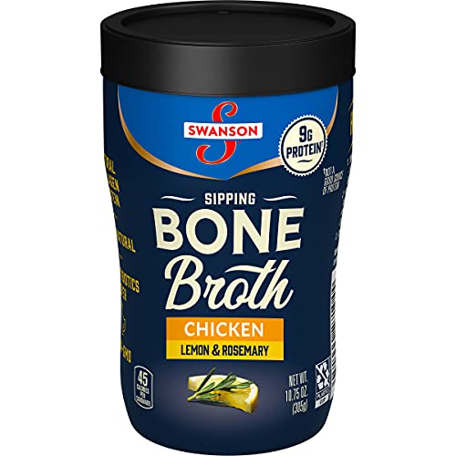 Swanson Sipping Bone Broth, Chicken Bone Broth with Lemon & Rosemary, 10.75 Ounce Sipping Cup (8 count)