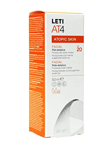 Leti At-4 Facial Crema Emoliente SPF20 Piel Atópica y Seca, 50ml