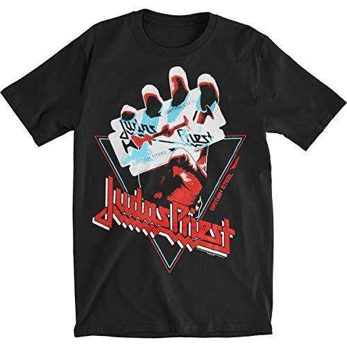 Judas Priest Herren T-Shirt British Steel Hand Triangle Slim Fit Schwarz - Schwarz - Mittel, M