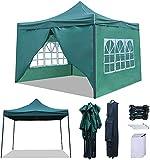 RNSSEZ Carpa Plegable 3x3 m con 4 Laterales Cenador Plegable Impermeable Jardín Gazebo para Fiestas, Bodas, Camping, al Aire Libre (Verde)