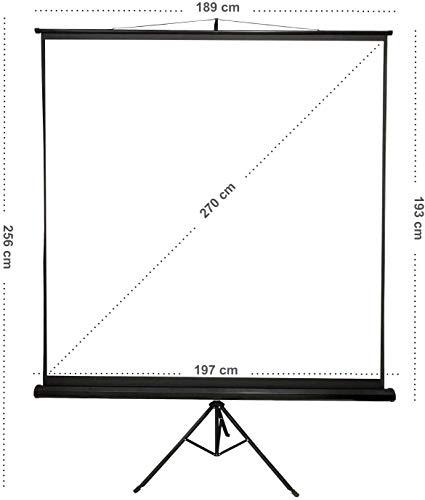 Todeco Telo Per Videoproiezioni, Schermo Di Proiezione, 190 x 190 cm, con treppiede nero, Materiale: Tessuto in nylon, Spessore: 500 g/m²