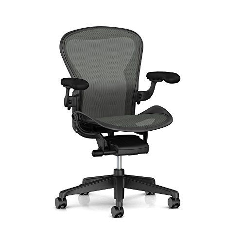 Herman Miller Aeron Ergonomic Office Chair with Standard Tilt and Zonal Back Support | Fixed Arms and Carpet Casters | Medium Size B with Graphite Finish