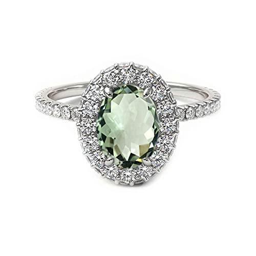 CaratYogi plata de ley ovalada Green Amatista verde natural
