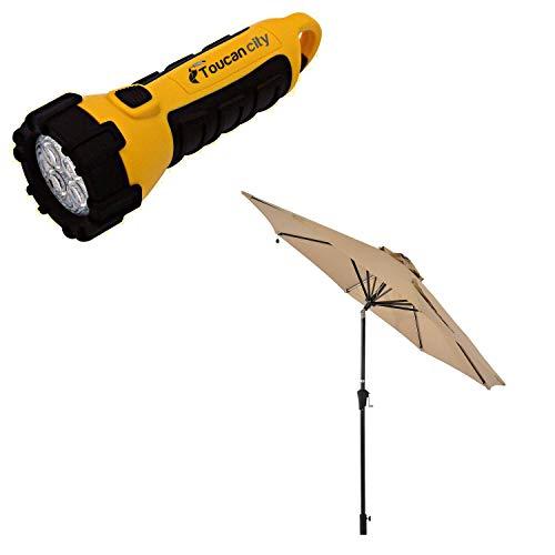 Toucan City LED Flashlight and Boyel Living 9 ft. Solar Light Outdoor Patio Market Umbrella in Beige TJAU-LED-RED-02