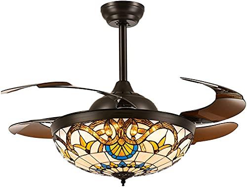 HHYHOME Ventilador de Techo Tiffany con lámparas LED Regulables y Control Remoto, Ventilador de araña Invertida con Cuchillas retráctiles