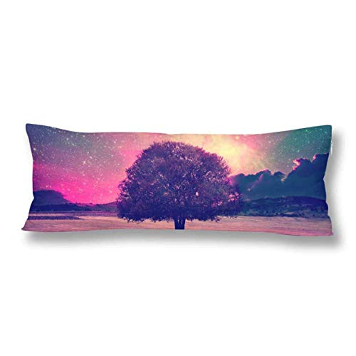 CiCiDi Body Pillow Case 5ft(50cm X 150cm) Night Sky Lonely Tree Starry Night Galaxy Nebula Stars Soft Cotton Machine Washable with Zippers Maternity/Pregnancy Pillow Cover