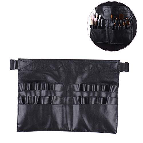 1pc brosse de maquillage professionnel Ceinture portable 22 poches Porte-brosses cosmétiques Beauté Organisateur outil avec l'artiste Ceinture Bracelet PU Sac de maquillage de taille en cuir (noir)