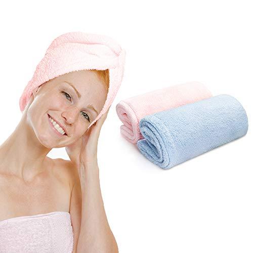 SAAJVA Mikrofaser Haarturban -2er Set- Schnelltrocknend, atmungsaktiv, sanft & komfortabel, mit Knopf - Handtuch für lange & dicke Haare - Tolles Geschenk für Frauen - L 65 x B 26 cm, Blau & Pink