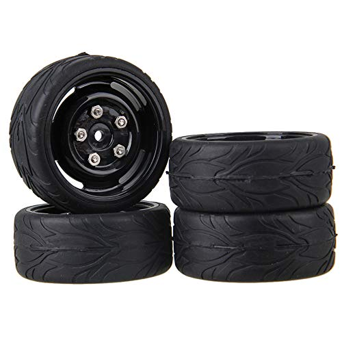 Mxfans Black RC 1:10 Fish Scale Pattern Rubber Tires & Black Plastic Wheel Rims for RC 1:10 On-Road Racing Car Pack of 4