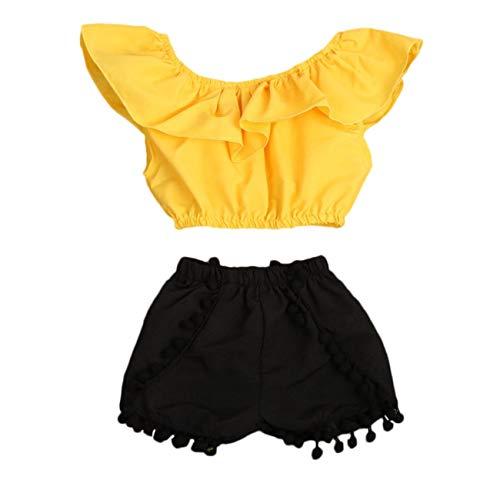 EricJohnston 2020 Los niños niño Lindo del bebé de la Ropa del niño Camiseta Tops + Shorts 2pcs de la celebración de Nuevo Sistema de la Ropa de Moda del bebé,Amarillo,6M