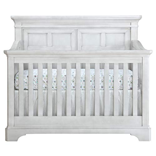 Evolur Provence 5-in-1 Convertible Crib in Pebble White Stone, Greenguard Gold Certified