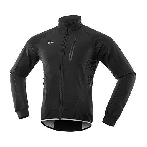 ARSUXEO Men's Winter Cycling Jacket Thermal Fleece Softshell MTB Bike Outwear Windproof Waterproof 20B Black Size Large