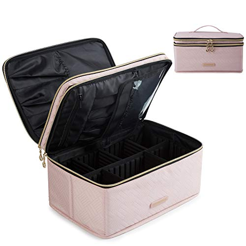 Makeup Case, LIGHT FLIGHT Travel Makeup Bag Cosmetic Case Organizer Portable Storage Bag with Adjustable Dividers for Cosmetics Makeup Brushes Toiletry Digital Accessories