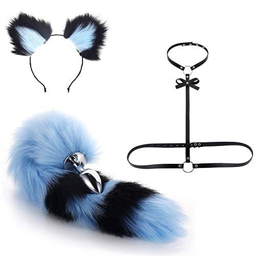Diadema de orejas de colores y cola de conejo zorro enchufe conjunto de correa de corbata negra disfraz de imitación esponjoso cosplay