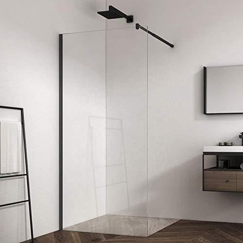 ZIK Cabina de ducha Walk In, un lado fijo, pared con cristal transparente frontal, perfil negro - 80 x 195 cm