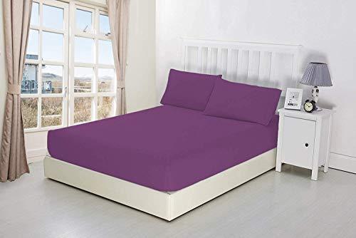Nicarabia Luxury Bedding - Sábana bajera ajustable (100% algodón egipcio, 25 cm), color morado