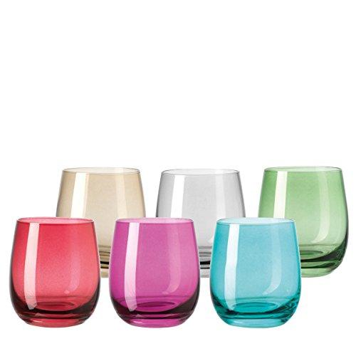 Leonardo Sora Becher klein farbig sortiert, 6-er Set, 360 ml, verschiedenfarbige Gläser mit Colori-Hydroglasur, 047289