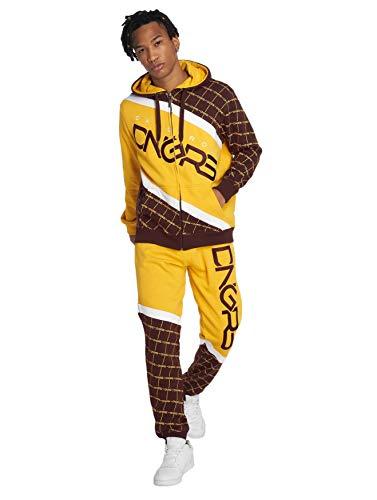 Dangerous DNGRS Herren Jogging Anzug Hose Sweat Suit Marne Freizeit Kombi, Farben:Gelb, Größe Hosen:XL