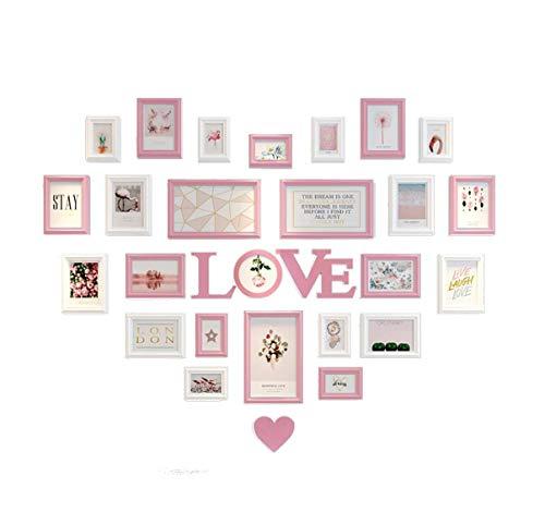 WYJW Sala de Estar Foto en Forma de corazón Decoración de Pared Foto Pared Dormitorio Amor Creativo Marco de Fotos Combinación de Pared Amor