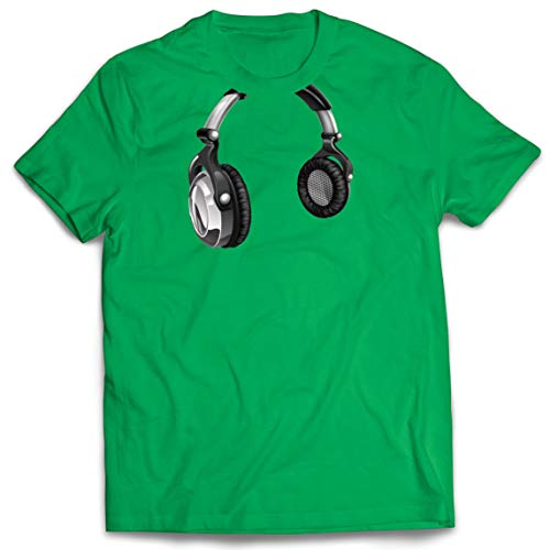 lepni.me Camisetas Hombre Regalo de DJ para los Amantes de la msica Msica Retro, Electrnica, Auriculares Imprimir (Medium Verde Multicolor)