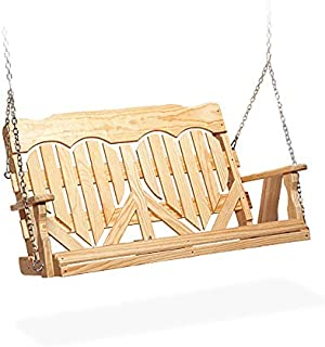 Peaceful Classics Hanging Porch Swing Amish Furniture | Wooden Heart Back Outdoor Bench Swings Unfinished Wood (5 Foot)