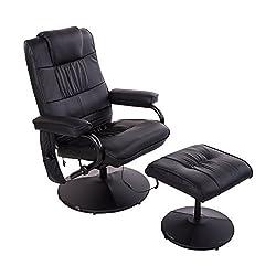 HOMCOM Kunstleder Massagesessel Relaxsessel Fernsehsessel TV Sessel mit Wärmefunktion inkl. Hocker Schwarz