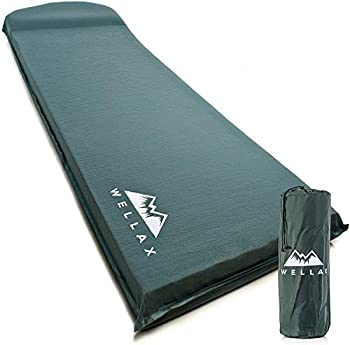 WELLAX UltraThick FlexFoam Sleeping Pad - Self-Inflating 3 Inches Camping Mat for Traveling Hiking and Camping - 3inch Thickness for Better Stability & Support