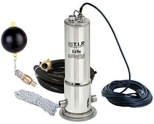 T.I.P. 30156 Zisternen-Tauchdruckpumpe Edelstahl EJ 6 Plus komplett mit Anschlusszubehör, bis 6.300 l/h Fördermenge