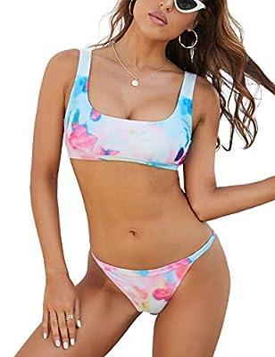 Womens Sports Swimsuits Crop Top Thong Bikini Two Piece High Cut Bathing Suit Cheeky Swimwear