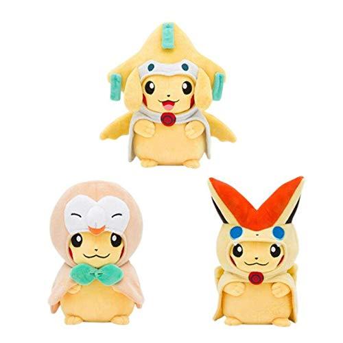 3 Estilos 20 cm Pikachu Cosplay Jirachi Vicini Rowlet Anime Pikachu Muñecas Rellenas, Niños Bebé Regalo De Cumpleaños De Navidad Pikachu WYYHYPY
