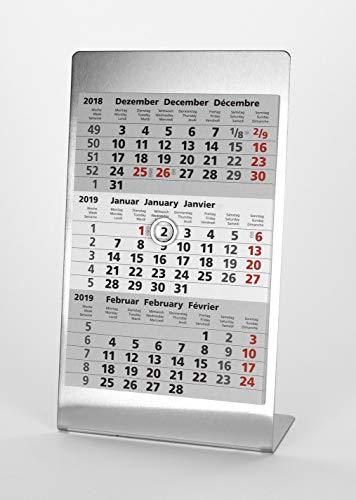 HiCuCo 3-Monats-Tischkalender für 2 Jahre (2021 und 2022) - Aufstellkalender - Edelstahl - TypA3