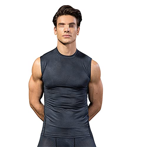 Camiseta Sin Mangas Hombre Deporte Ocio Estiramiento Transpirable Secado Rápido Cuello Redondo Hombres Camiseta Culturismo Correr Entrenamiento Verano Hombres Camisa Deportiva J-Grey2 XL