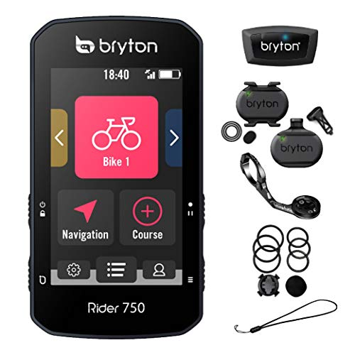 Bryton Rider 750T GPS Bike/Cycling Computer. USA Version. Color Touchscreen, Maps & Navigation, Smart Trainer Workout, Radar Support, 20h Battery. Incl. Device, Sport Mount & SPD/CAD/HR Sensors