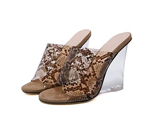 CCJW Summer Slip On Memory Foam,Transparent snake crystal slope heel slippers, sexy outer wear women's slippers-brown_40,Perfect 10 Open Toe Sandals, kshu