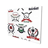 Sports Decor Baseball Gloves Helmet Balls Crossed Bats Home Plate and Trophy Cups Painting Premium Panoramic Canvas Wall Art Painting 12'X 16'
