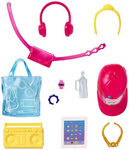 Barbie Doll Accessory Pack, Boombox, Headphones, Tablet, Tote Bag, Water Bottle GHX34